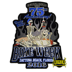 2016 Daytona Beach Bike Week Bones 75th Anniversary Patch-Large