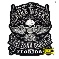 2016 Daytona Beach Bike Week Traditional Skull Wing Patch-Large