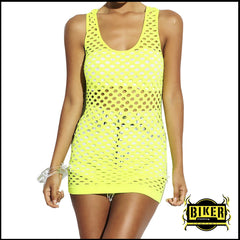 Neon Yellow White Cut Out Clubbing Tank Top