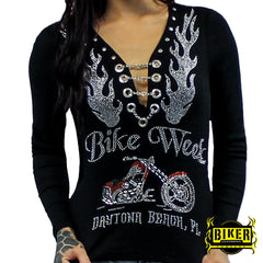 Bike Week Orange and Silver Chopper Long Sleeve