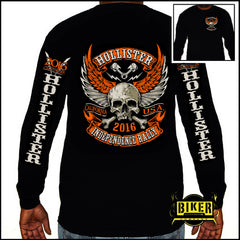2016 OFFICIAL HOLLISTER INDEPENDENCE RALLY  ORG/ WINGED SKULL LONG SLEEVE