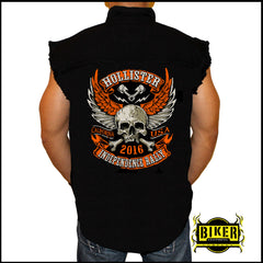 HOLLISTER 2016 INDEPENDENCE RALLY, ORANGE WINGED SKULL CUT-OFF