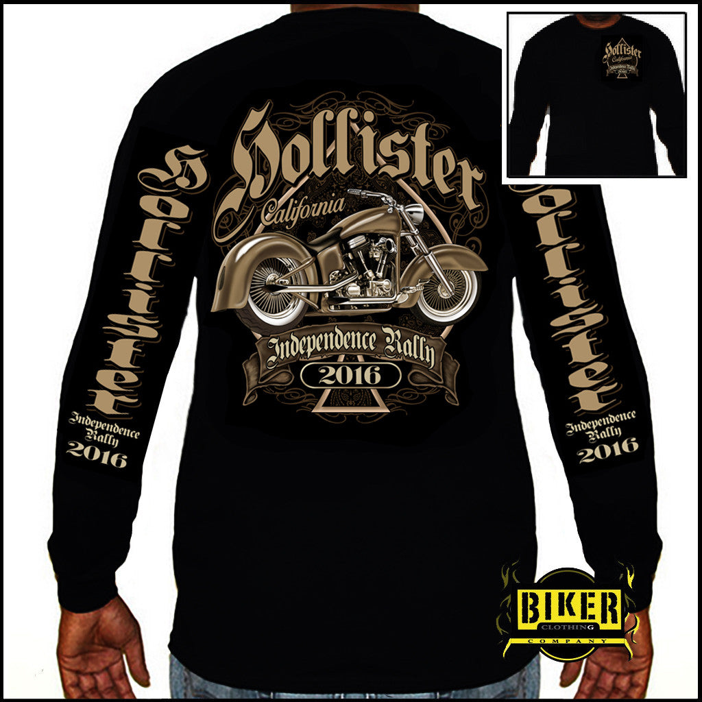 2016 OFFICIAL HOLLISTER INDEPENDENCE RALLY, CLASSIC SPADE BIKE  LONG SLEEVE