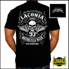 2016 Laconia Motorcycle Rally An American Tradition Skull Wing T-Shirt