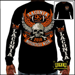 2018 Laconia Orange Skull Long Sleeve T-shirt