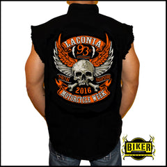 OFFICIAL LACONIA 2016 ORANGE WING SKULL, SLEEVELESS DENIM
