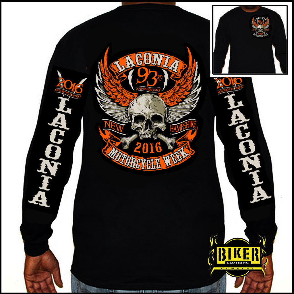 2016 Laconia Orange Wing Skull Long Sleeve