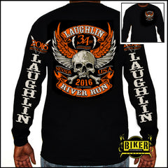 Official 2016 Laughlin River Run Orange Wing Skull Long Sleeve