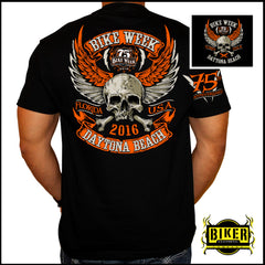 OFFICIAL 2016 DAYTONA BIKE WEEK, WINGED SKULL ORANGE T-SHIRT