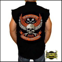 Official 2016 Reno Street Vibrations Orange Skull Wing Sleeveless Denim