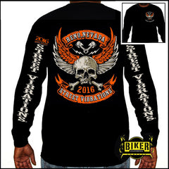 Official 2016 Reno Street Vibrations Orange Skull Wing Long Sleeve