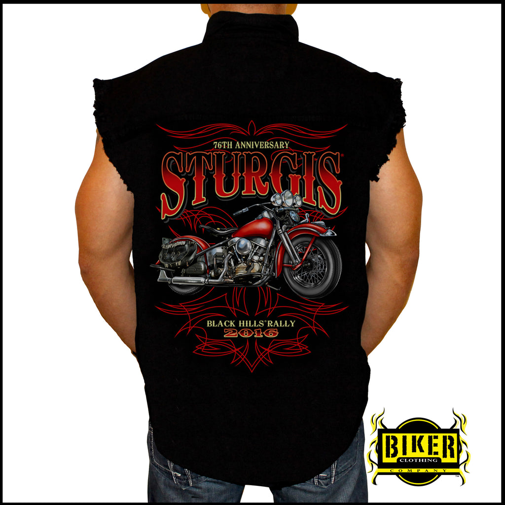 2016 Official Sturgis New Red Bike, Sleeveless Denim