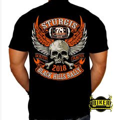 2018 STURGIS MOTORCYCLE RALLY ORANGE SKULL