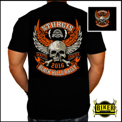 2016 OFFICIAL STURGIS ORANGE WINGED SKULL T- SHIRT