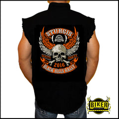 2016 OFFICIAL STURGIS ORANGE WINGED SKULL, Sleeveless Denim