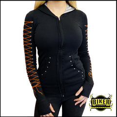 Long Sleeve Silver Angel Wing With Orange Corset Ribbon Hooded Top
