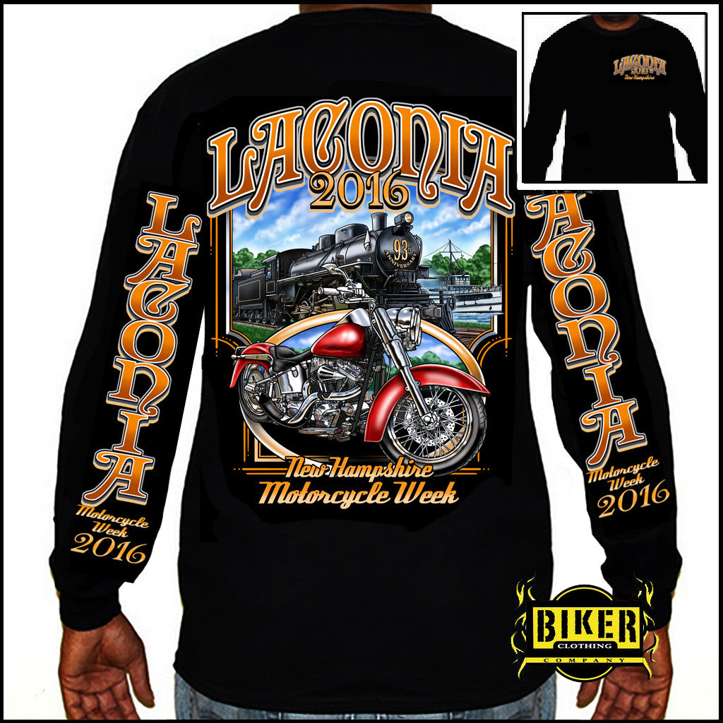 2016 Laconia Motorcycle Rally Weirs Beach Train Long Sleeve.