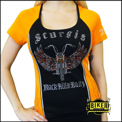 2015 Sturgis Black and Orange Two Tone Bike With Wings Lady's Fashion Short Sleeves