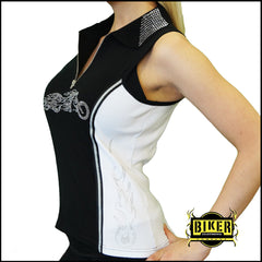 2015 Sturgis Silver Bike Flame Black and White Two Tone Polo Tank Top