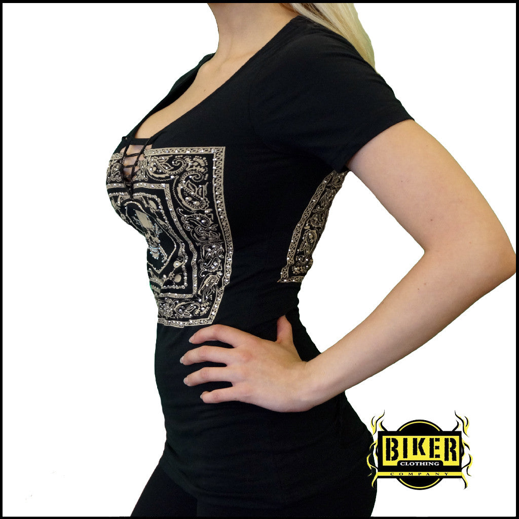 Braided Front and Back With Skull Design Lady Fashion Top