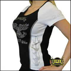 2015 Laughlin River Run Silver Eagle Rhinestone Aceent Black/White Two-Tone Top
