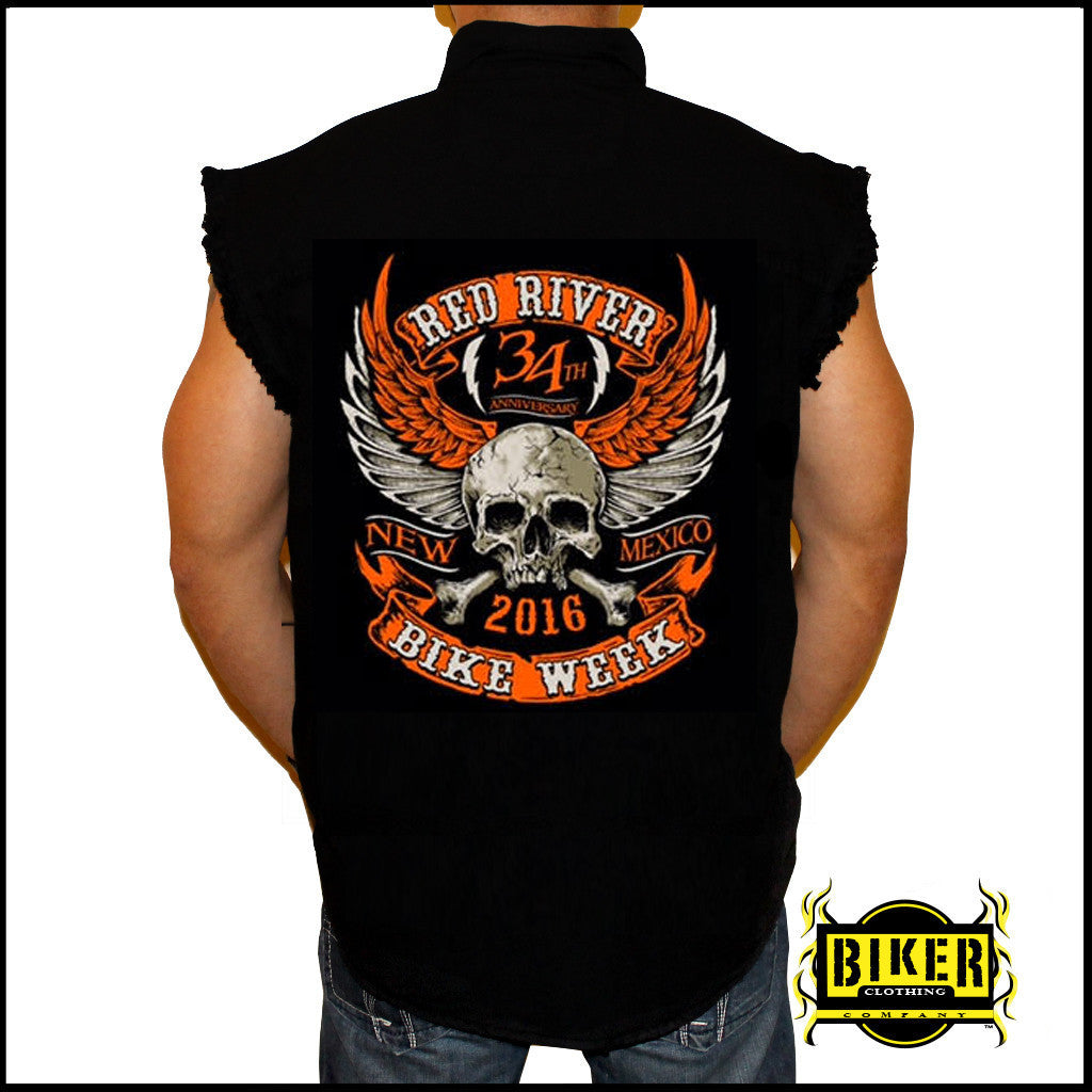 2016 RED RIVER ORANGE SKULL WING SLEEVELESS DENIM