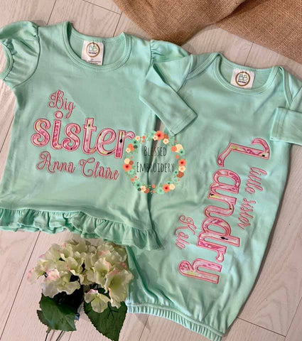 Big Sister Little Sister Applique Outfit Set, Little Sister Gown, Big Sister And Little Sister Outfit Set