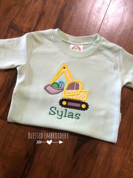 Boys Easter Shirt, Boys Personalized Easter Shirt, boys monogrammed easter shirt, Easter excavator shirt