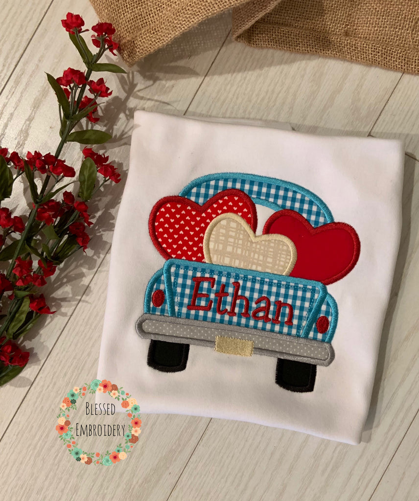 Boys Valentine Applique Shirt, Boys Monogrammed Valentines Day Shirt