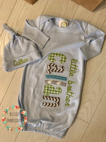 Baby Boy gown, Boy coming home outfit, little brother baby gown