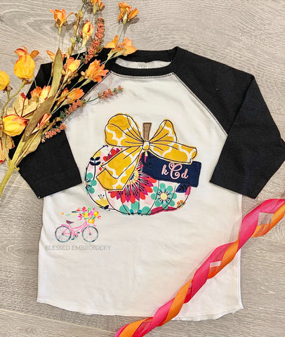 Girls Monogrammed Pumpkin Shirt