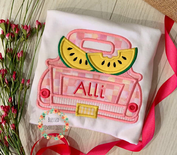 Girls Watermelon Applique Shirt, Girls Watermelon Monogrammed Shirt