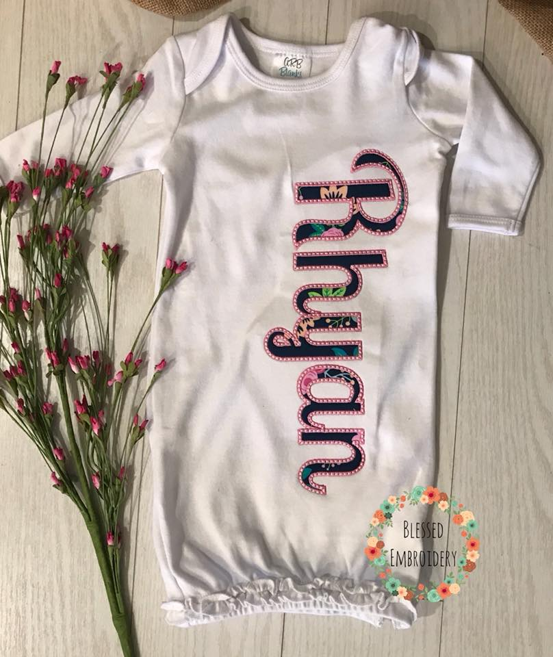 Baby Girl Gown, Baby Girl Coming Home Outfit, Baby Girl Gown, Monogrammed Baby Girl Gown