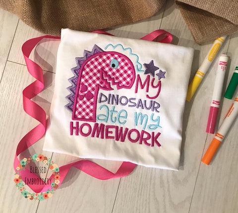 Back To School Personalized Shirt, Girls Back To School Shirt, Back To School Applique Shirt, dinosaur ate my homework shirt