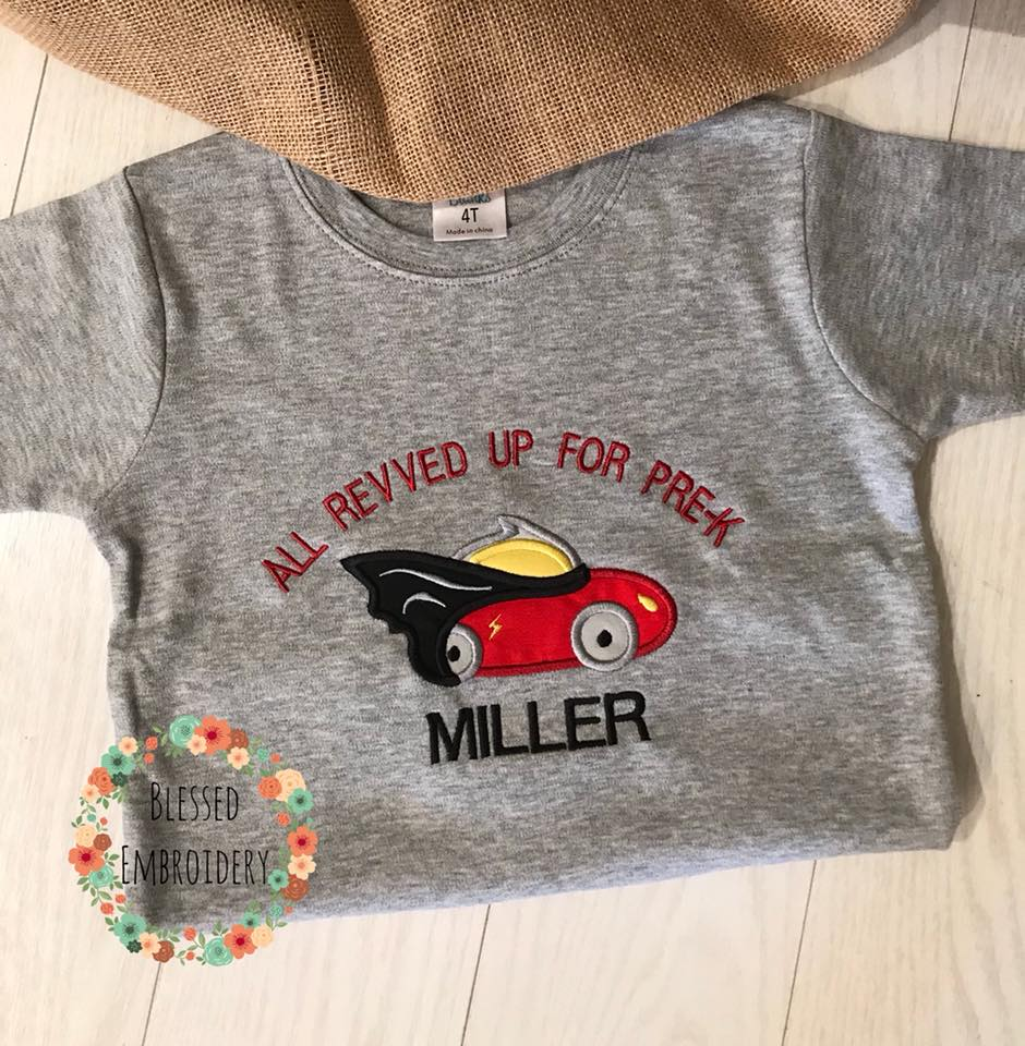 Boys Back To School Shirt, Back To School Applique Shirt, Back To School Personalized Shirt, All Revved up for school shirt
