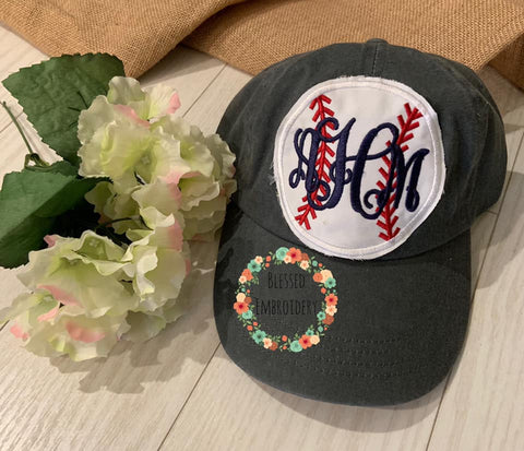 monogrammed baseball hat, monogrammed baseball mom hat, baseball applique hat
