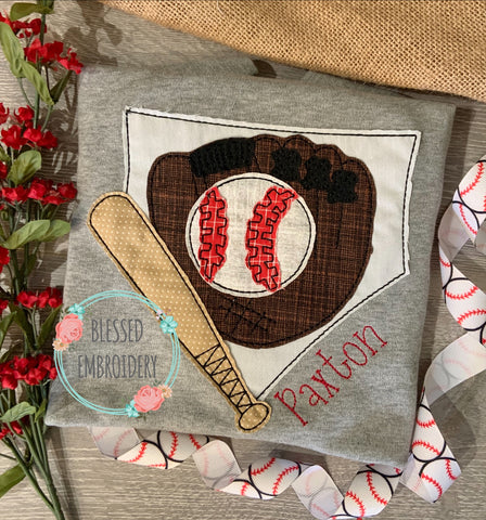 Baseball Applique Shirt, Monogrammed Baseball Shirt, Personalized Baseball Applique Shirt