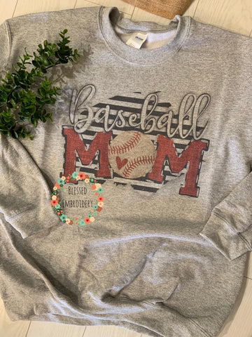 Baseball Mom Sweatshirt, Baseball Mom Shirt, Baseball Mom Sublimated Sweatshirt