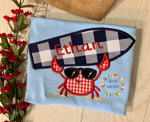 Boys Beach Applique Shirt, Boys Crab Applique Shirt, Boys Beach Crab Monogrammed Shirt