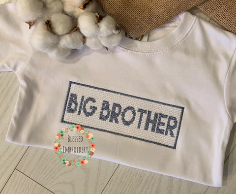 Big Brother Shirt, Big Brother Faux Smocked Shirt, Big Brother Embroidered Shirt