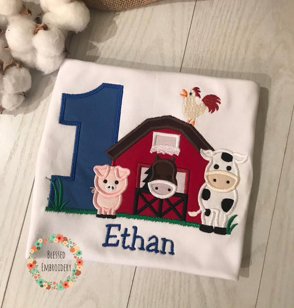Boys Farm Birthday Shirt, Boys Farm Birthday Outfit, Monogrammed Boys Farm Birthday Shirt