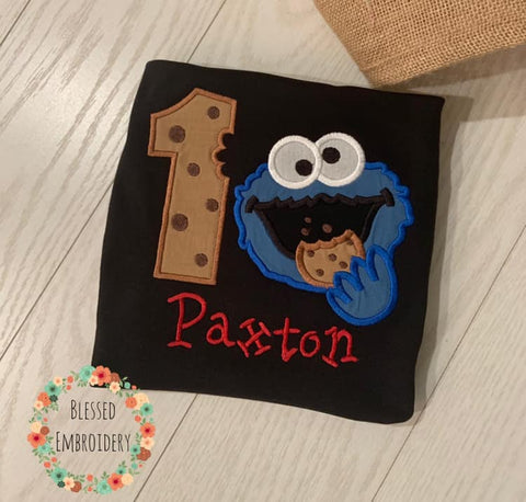 Cookie Monster birthday Shirt, Cookie monster applique birthday shirt, Monogrammed cookie monster birthday shirt
