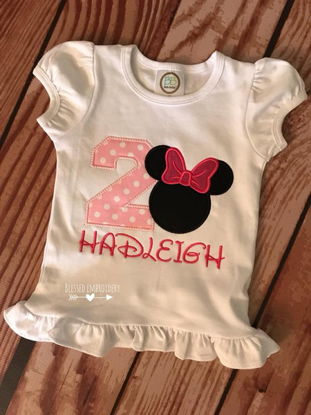 Minnie Mouse Birthday shirt, Minnie Mouse girls birthday shirt