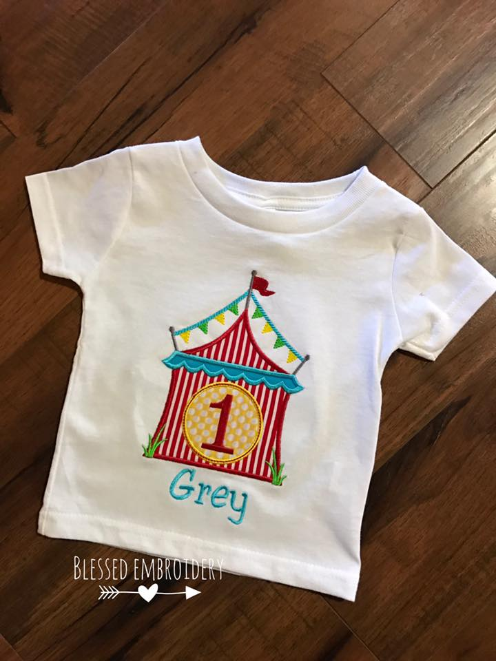 Circus birthday shirt, circus applique birthday shirt, personalized circus birthday shirt