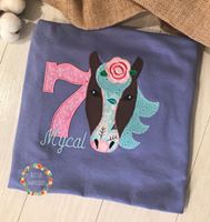 Girls Horse Applique Birthday Shirt, Girls Monogrammed Horse Birthday Shirt, girls personalized horse birthday shirt