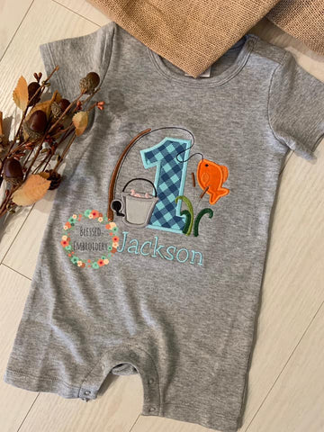 Fishing Birthday Shirt, Fishing Applique Birthday Shirt, Boys Fishing Birthday Outfit