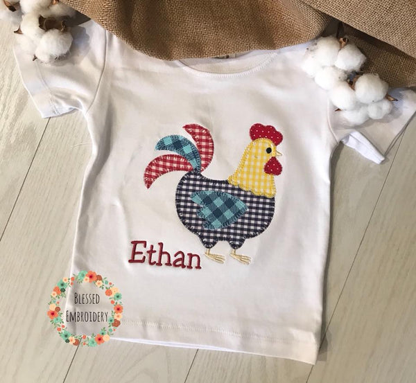 Boys Rooster Applique Shirt, Monogrammed rooster applique shirt, boys personalized rooster shirt