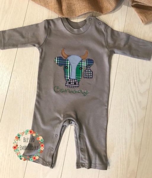 Boys Monogrammed Bull Outfit, Boys Monogrammed boy Romper, Boys monogrammed bull applique outfit
