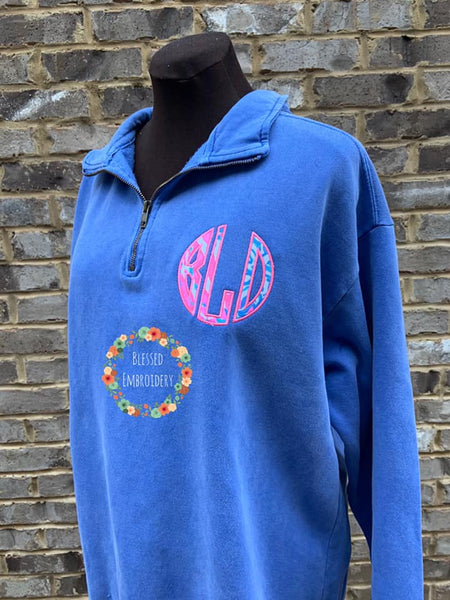 Monogrammed Comfort Color 1/4 zip