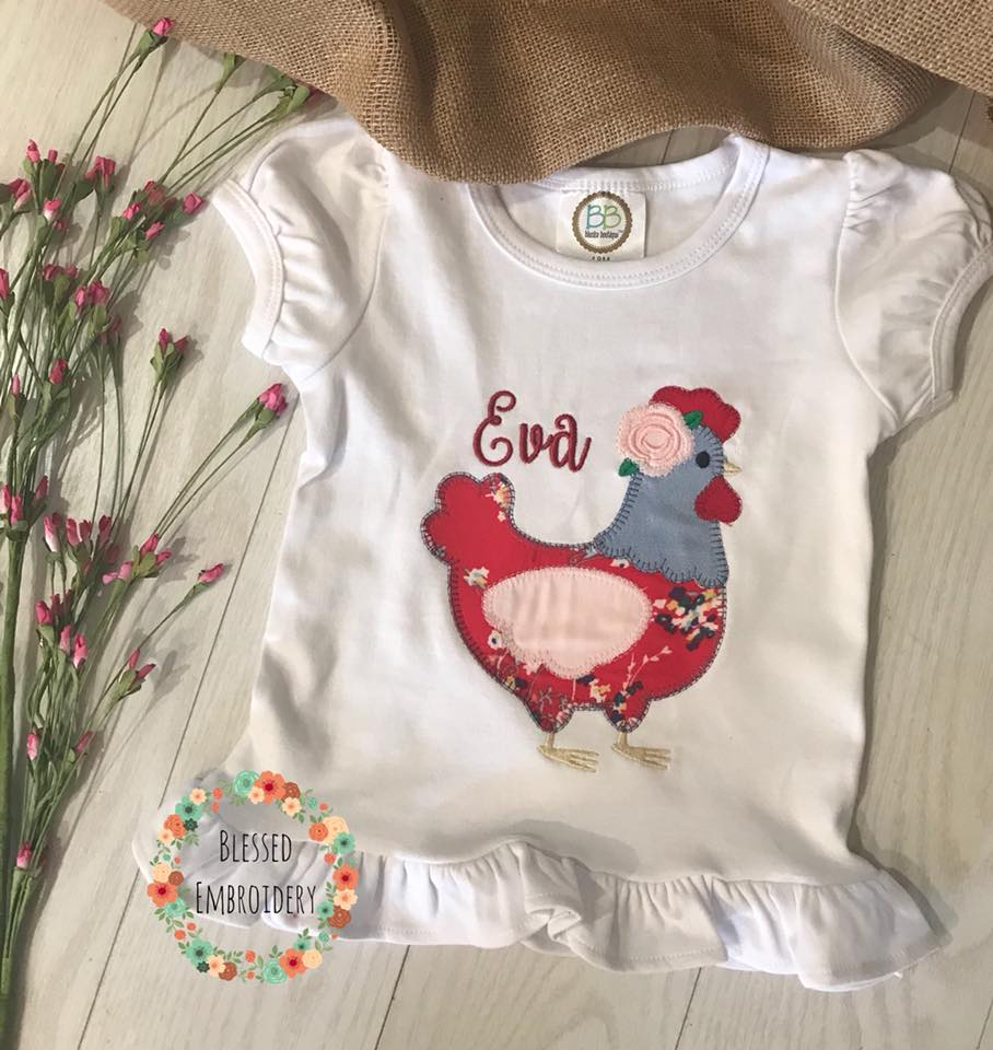 Girls chicken applique shirt, girls chicken Shirt, girls monogrammed chicken shirt